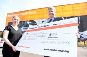 Award-winning Blackburn Youth Zone provided Cheque by HIVE